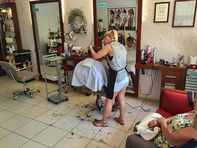 At the Hair Dresser