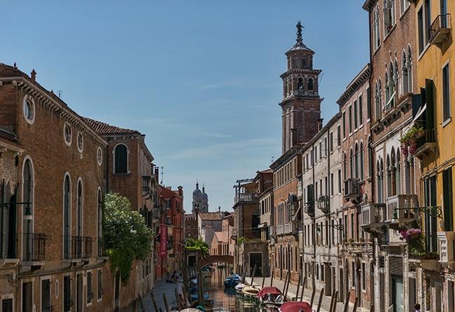 On the right the tower of Santa Maria dei Carmini - in the back the twin towers of San Raffaele Arcangelo
