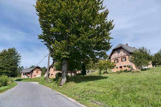 Houses in Poljanak - looks a bit like Black Forrest style