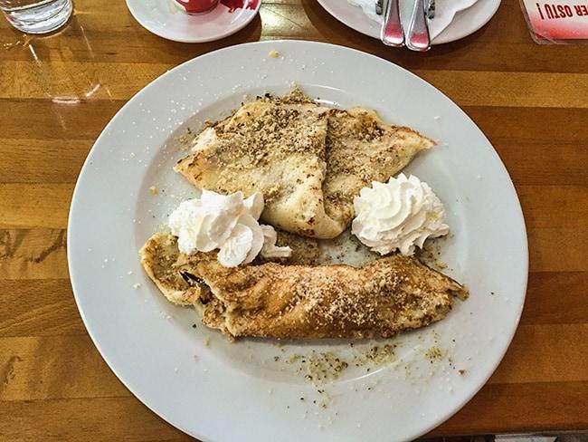 Palatschinke is a thin crêpe-like variety of pancake