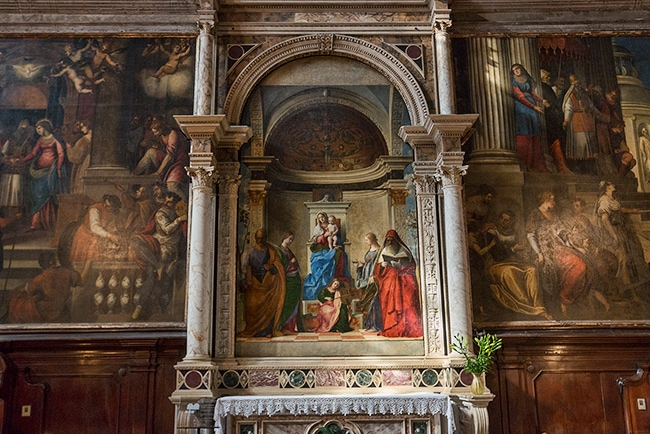 San Zaccaria Altarpiece by Giovanni Bellini. Napoleon did steal this one when he captured Venice. The next 20 years it did spend in Paris.