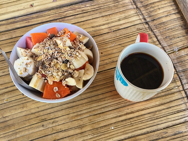 Breakfast at Twin Hut - Fruits with Müsli sprinkle and black organic Hill Tribe Coffee