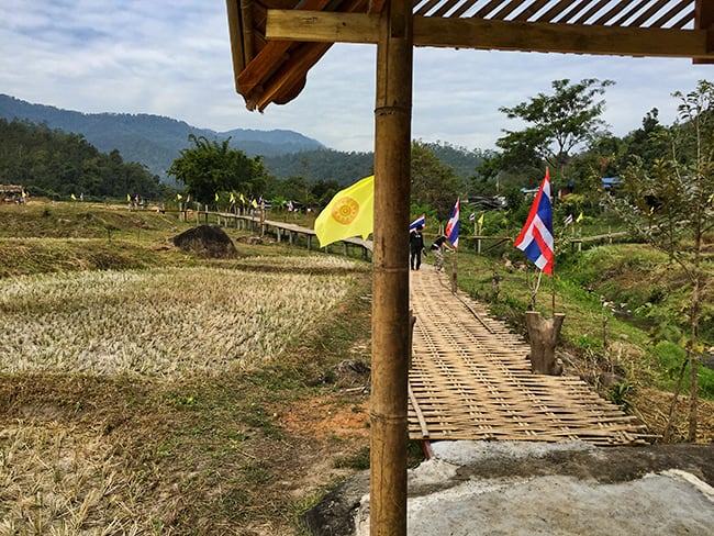 The newest attraction in Pai - A bamboo walkway for the monks....