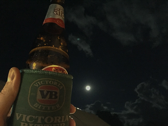 Full moon and a beer