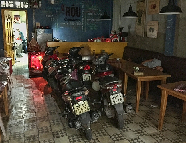 There is a Vegetarian restaurant under the hostel. It turns into a sleeping room for the staff and parking hall for staff and guest motorbikes at night.