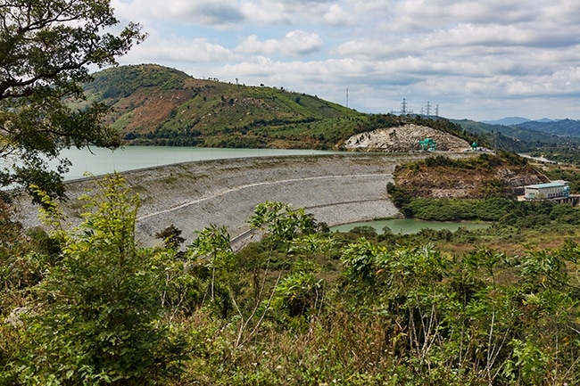 The dam creating the lake