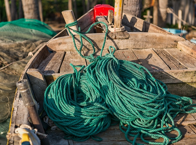 Rope in a fishing boat
