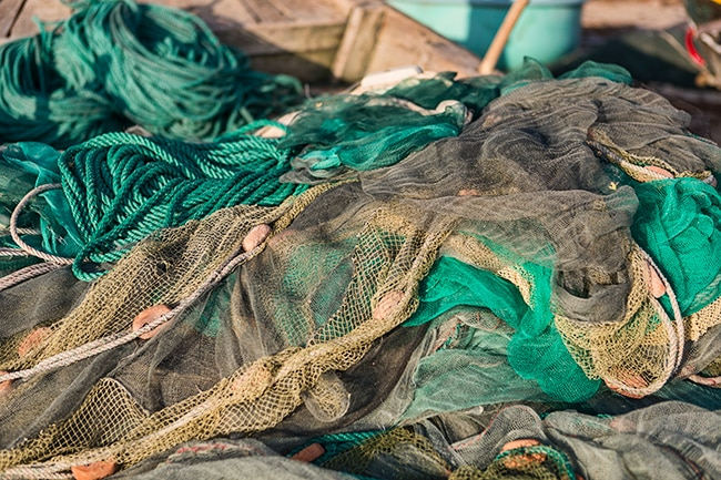 Fishing nets in a boat