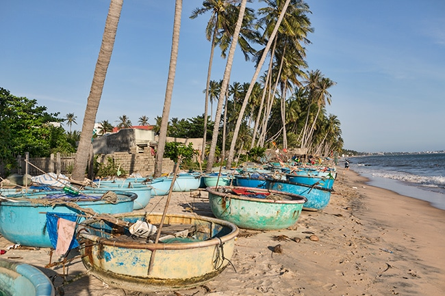 Fishing boats at the Beach in Hàm Tiến