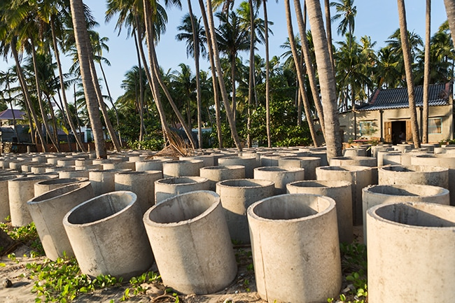 Cement tubes at the beach