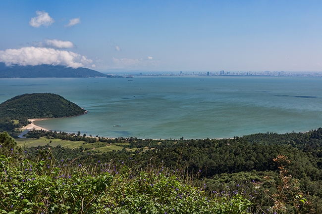 The bay from above. In the distance you can see the North tip of Da Nang