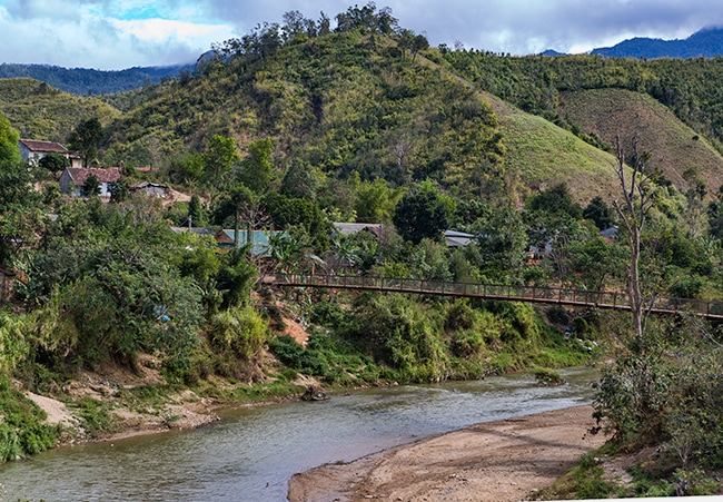 A lot of small villages on the other side of the river can only be acceded over small bridges