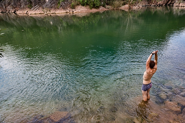 Misha taking a swim