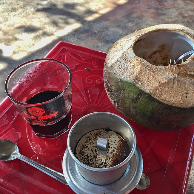 Slow drip coffee and a coconut