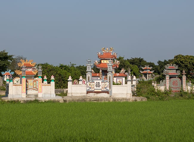 Graves in a rice field