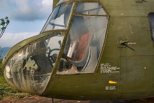 Detail of the US Army CH-47 Chinook helicopter