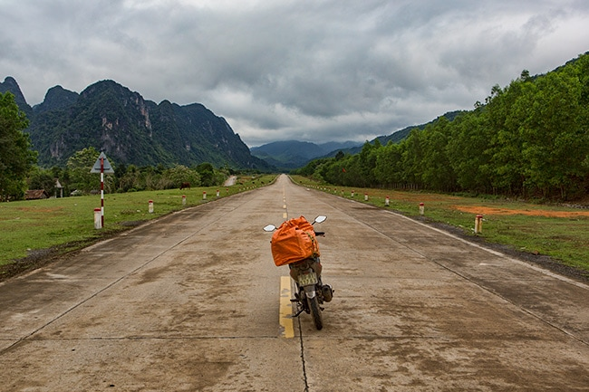 Open road into the mountains after Phong Nha