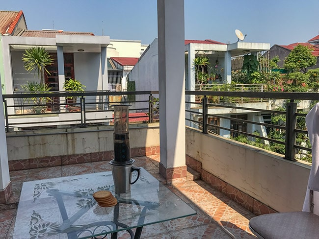 My balcony at the Thanh An 2 Guesthouse in Hue