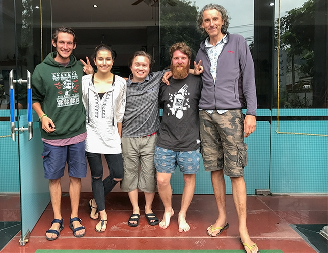The gang in front of the place. With Jordi Huysmans, Saci Kovách, Việt Tây and Andrew Pycroft.