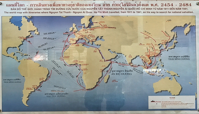 A map where Ho Chi Minh traveled from 1911 to 1941