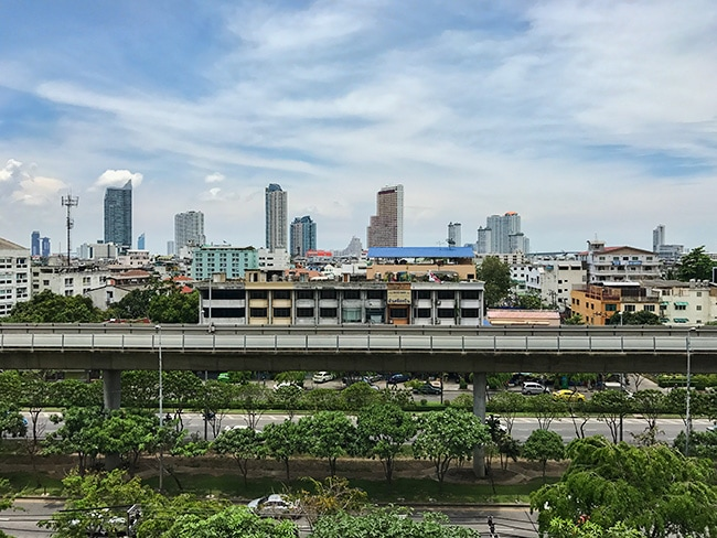 BKK skyline from the parking deck of a shopping center