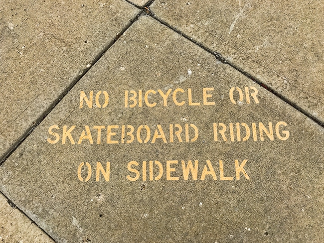 No wheels on the sidewalk