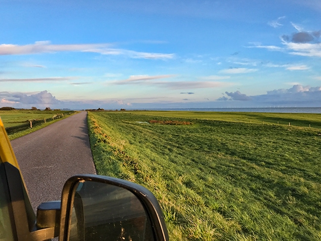 Most of the road is on the dike - great views!