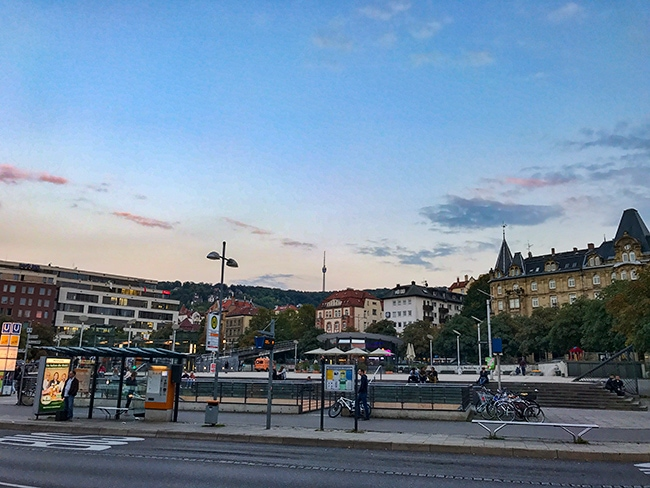 19:07 made it to Stuttgart. Took the tram to Marienplatz and now I have to wait for the bus.