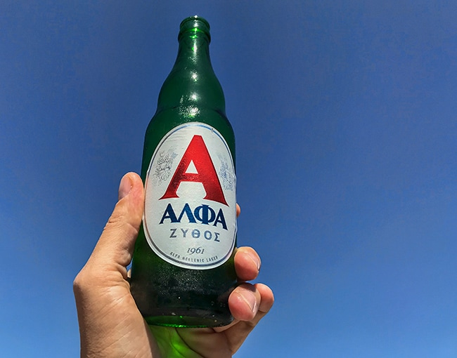 But Greek beer and a blue sky!
