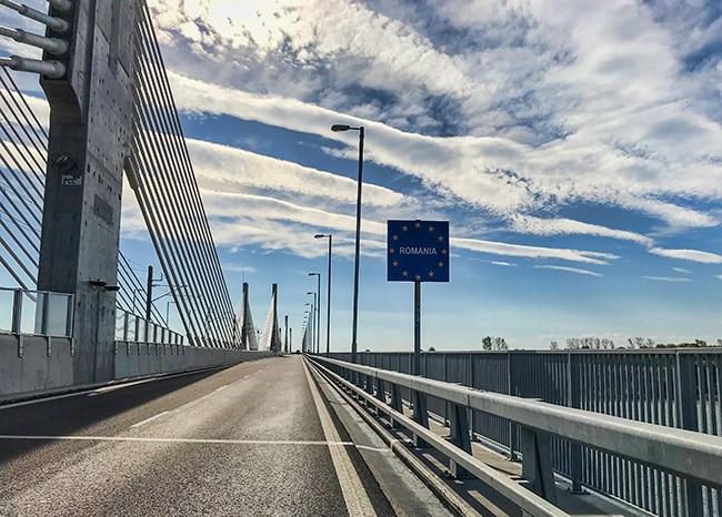On the bridge to Romania