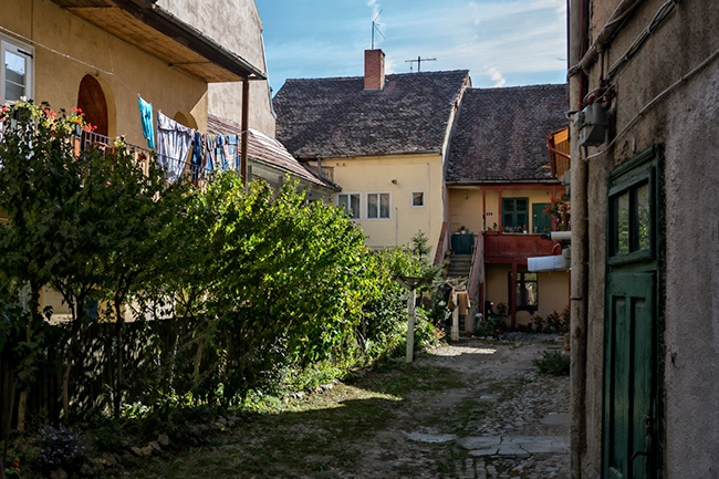 Behind the big wood doors you find usually a green courtyard in Sibiu