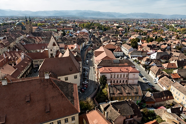 View from the Sibiu Lutheran Cathedral of Saint Mary