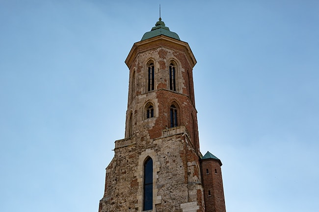 The tower of the St. Mary Magdalene Church at Kapisztrán tér