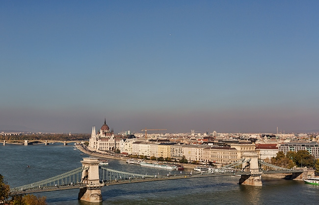 The Széchenyi Chain Bridge and the Hungarian Parliament Building or Országház on the left