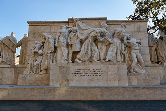 The back of the Kossuth Memorial which is dedicated to former Hungarian Regent-President Lajos Kossuth