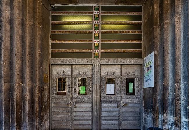 The door of the Trade School or BGSZC Széchenyi István Kereskedelmi Szakgimnáziuma