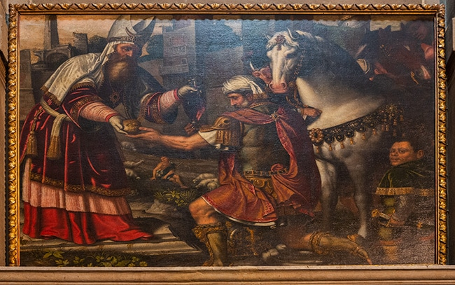 King Mechisedec offers bread and wine to Abraham from Moretto