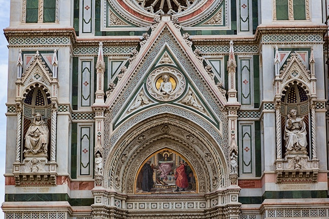 Above the left entrance of the Florence Cathedral