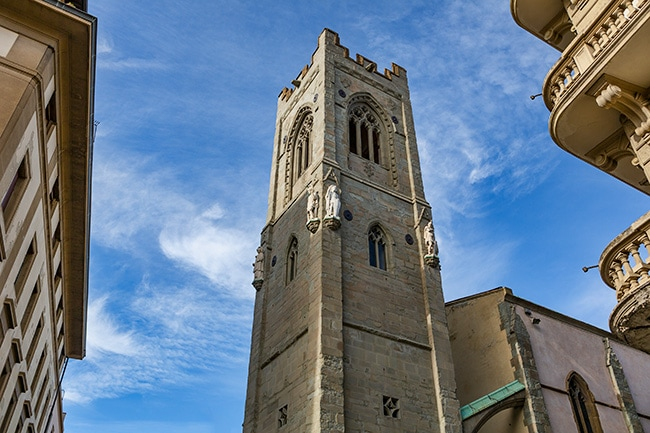 Tower of the Tempio Chiesa Valdese or the Holy Trinity Church