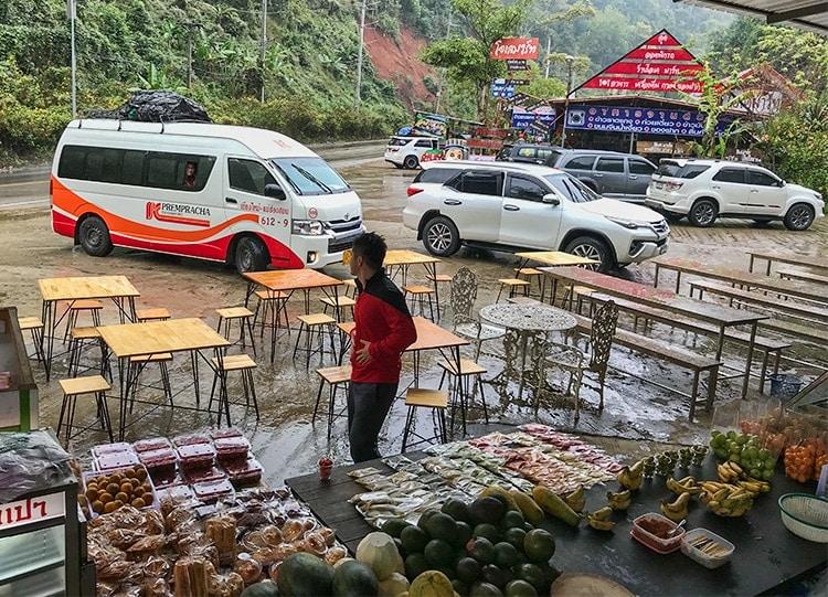 Still raining - the mini bus to Pai