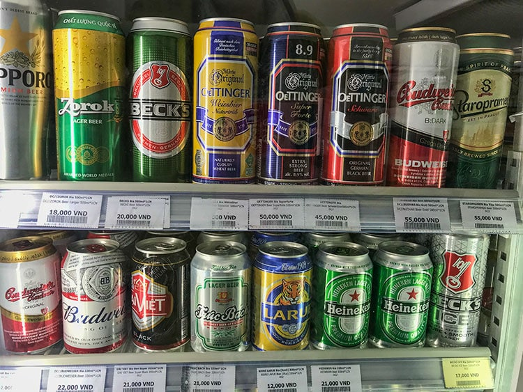 The import beer starts at € 0,70 up to 2,11€ for 500 ml. Super cheap compared to Thailand!