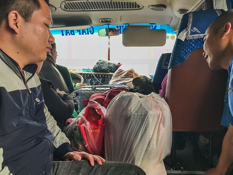 With the local bus to the bus station and from there to Ninh Binh