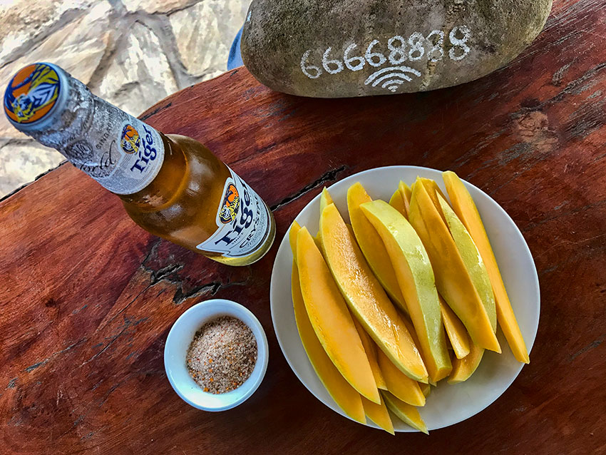 Afternoon snack - Mango with Tiger Beer