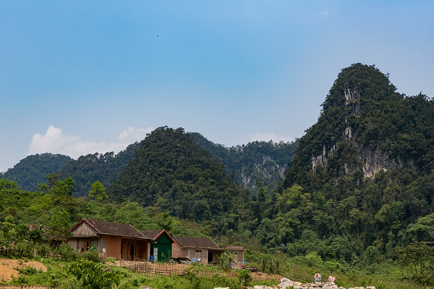 Houses in front of Mountains in Vietnam