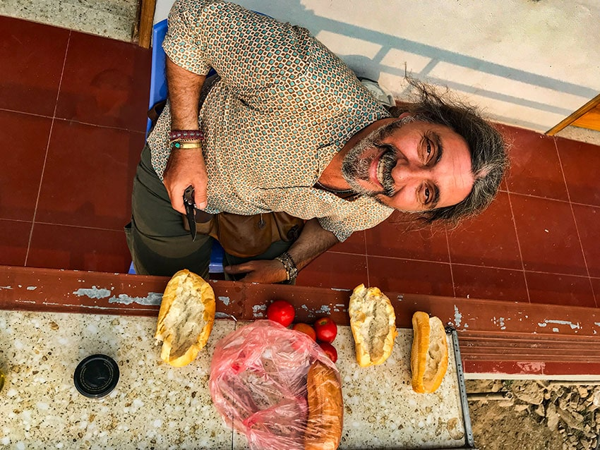 A happy Mitsos! Bread, tomatoes and olive oil!