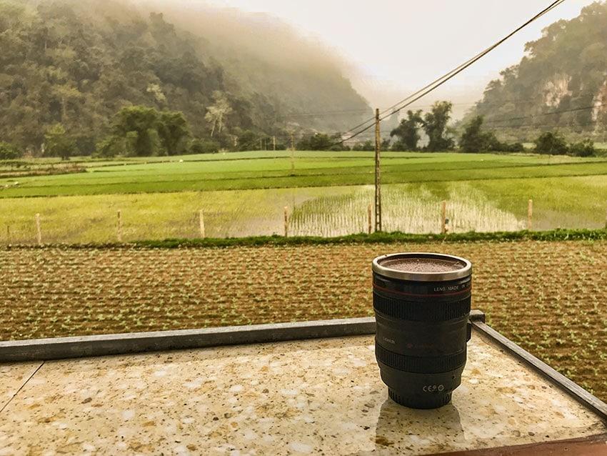 Coffee at my balcony at Ba Be Lake