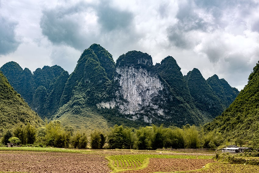Karst mountains behind fields in Vietnam