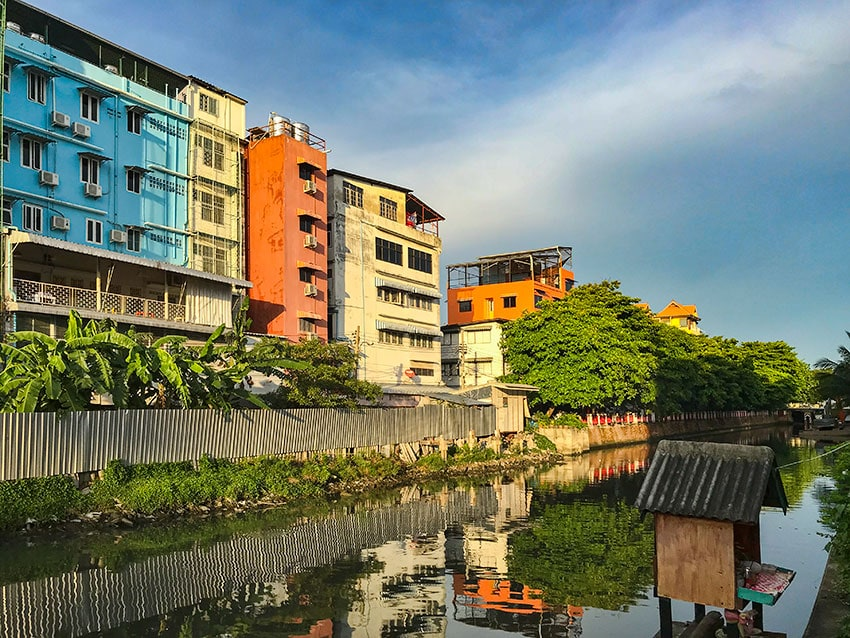 Houses on canal in Bangkok