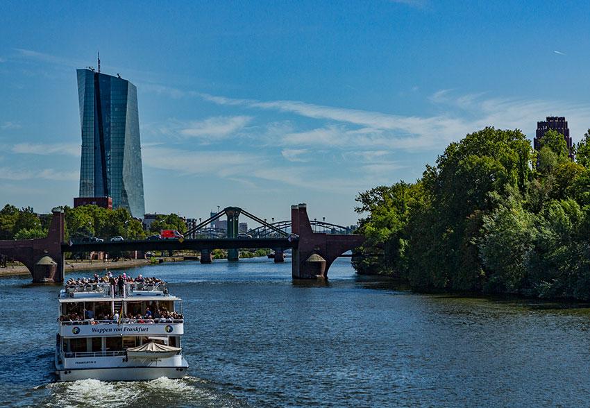 View from Eiserner Steg in Frankfurt