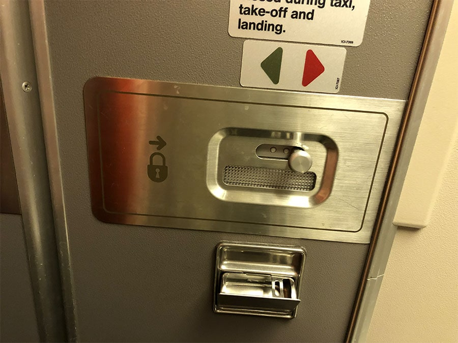 Airplane door with ashtray
